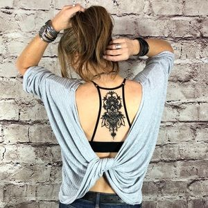 Other - Pull-over illusion tattoo black racerback bralette